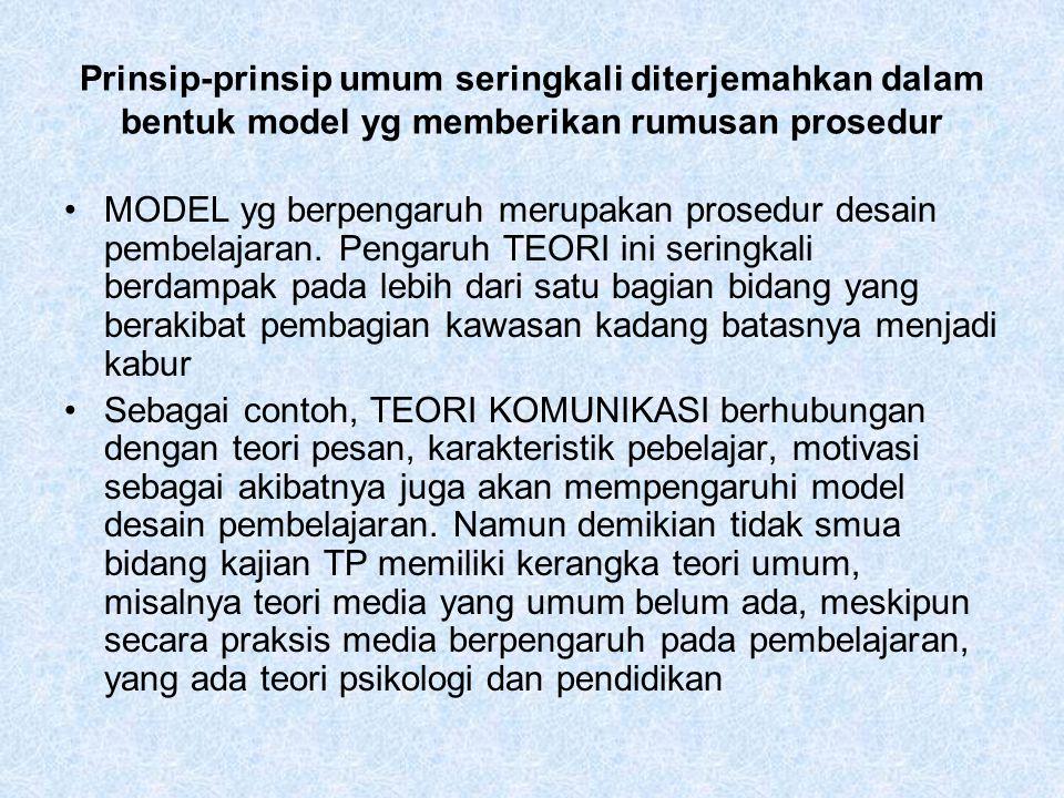 Prinsip-prinsip umum seringkali diterjemahkan dalam bentuk model yg memberikan rumusan prosedur MODEL yg berpengaruh merupakan prosedur desain pembela