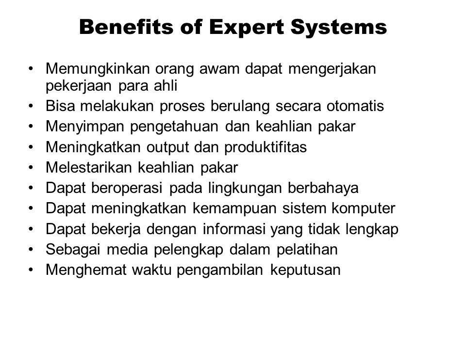 Benefits of Expert Systems Memungkinkan orang awam dapat mengerjakan pekerjaan para ahli Bisa melakukan proses berulang secara otomatis Menyimpan peng
