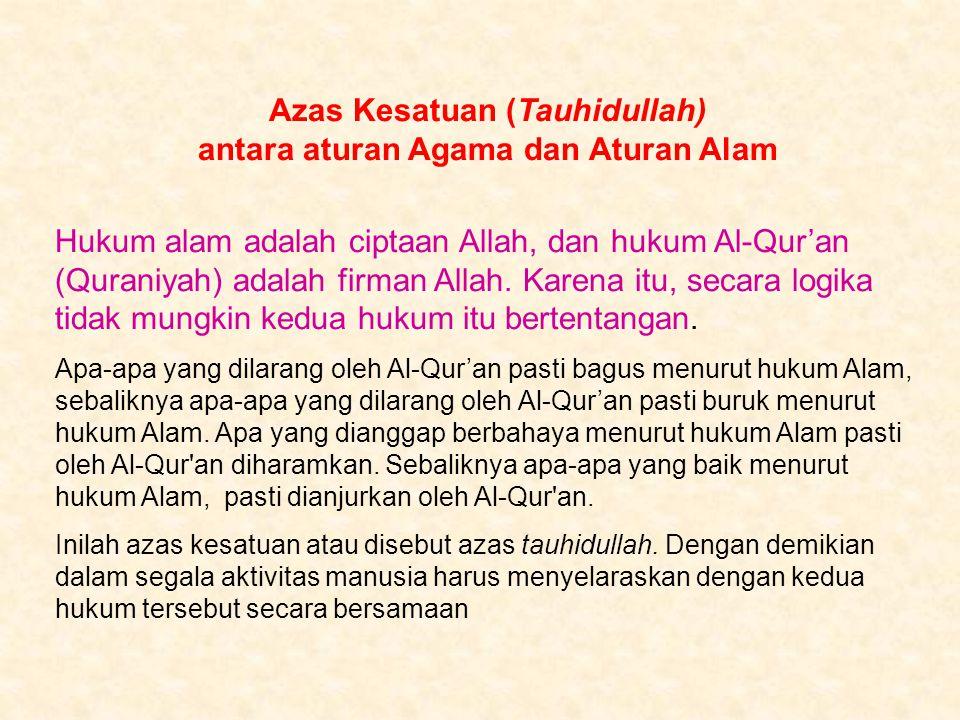 Azas Kesatuan (Tauhidullah) antara aturan Agama dan Aturan Alam Hukum alam adalah ciptaan Allah, dan hukum Al-Qur'an (Quraniyah) adalah firman Allah.