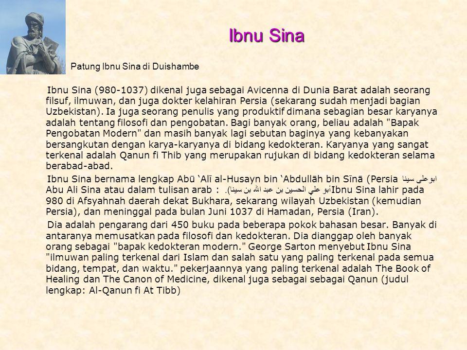 Ibnu Sina (980-1037) dikenal juga sebagai Avicenna di Dunia Barat adalah seorang filsuf, ilmuwan, dan juga dokter kelahiran Persia (sekarang sudah menjadi bagian Uzbekistan).