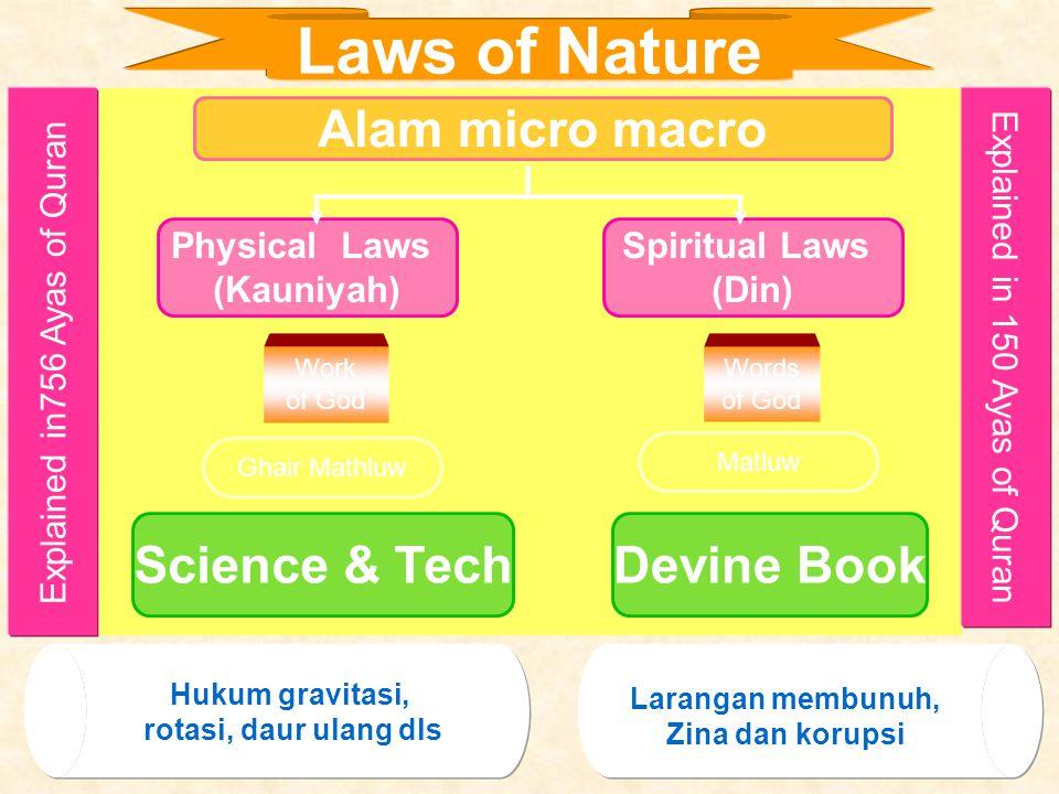 Allah telah menciptakan alam (mikro dan makro) dalam jumlah jenis dan items yang sangat spektakuler.