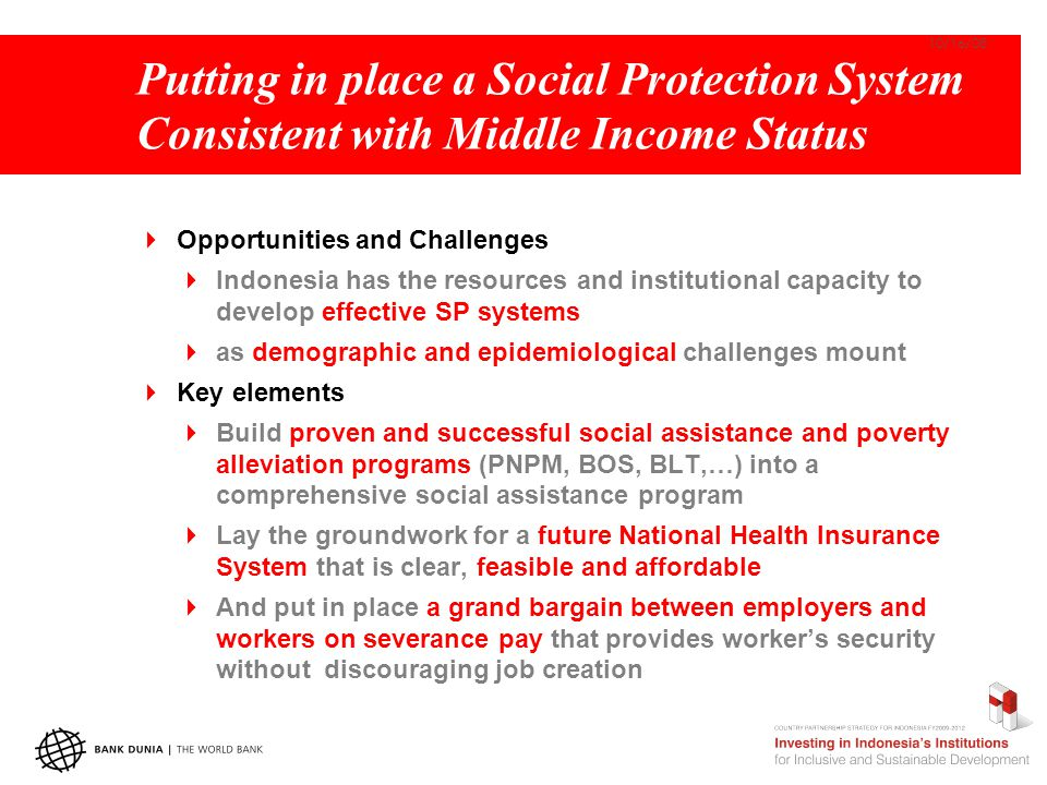 Putting in place a Social Protection System Consistent with Middle Income Status  Opportunities and Challenges  Indonesia has the resources and inst