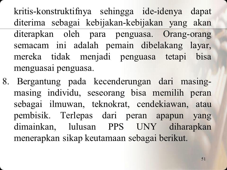 50 7.Bergantung pada kecenderungan masing-masing, lulusan PPS UNY bisa berperan dalam memajukan bangsa melalui cara-cara berikut: (a) menerapkan dan m