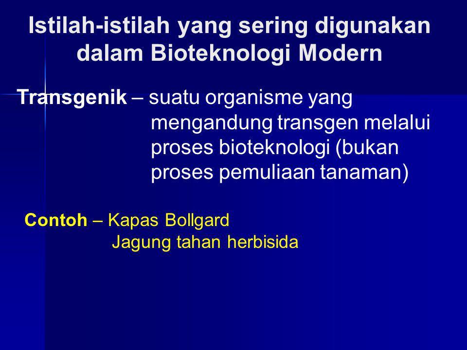 Istilah-istilah yang sering digunakan dalam Bioteknologi Modern Transgenik – suatu organisme yang mengandung transgen melalui proses bioteknologi (buk