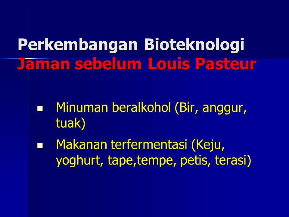 Perkembangan Bioteknologi Jaman sebelum Louis Pasteur Minuman beralkohol (Bir, anggur, tuak) Minuman beralkohol (Bir, anggur, tuak) Makanan terferment