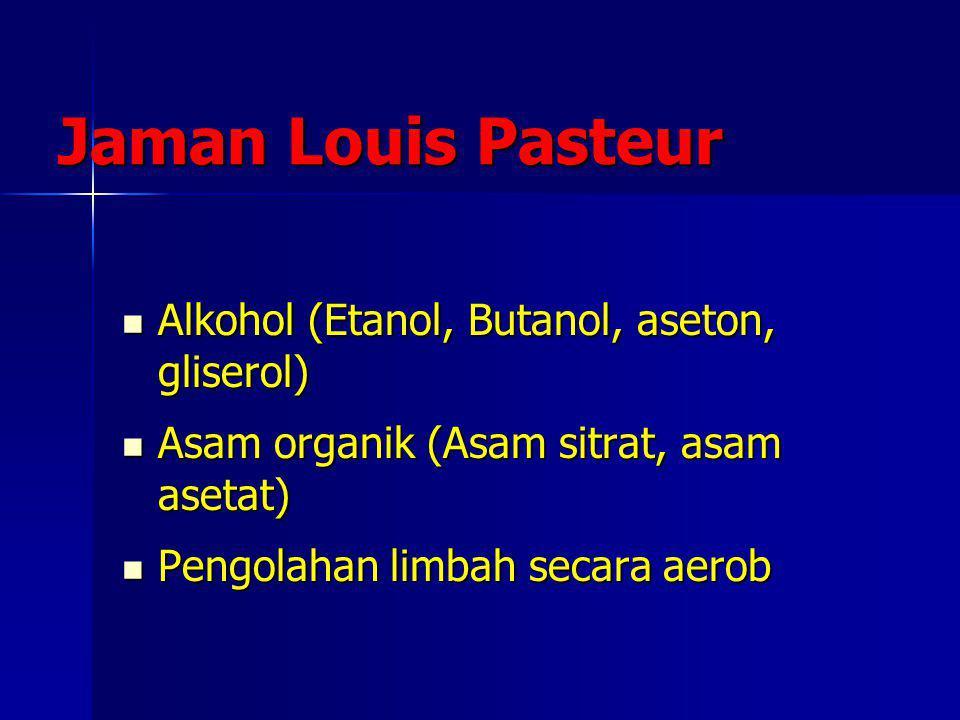 Jaman Louis Pasteur Alkohol (Etanol, Butanol, aseton, gliserol) Alkohol (Etanol, Butanol, aseton, gliserol) Asam organik (Asam sitrat, asam asetat) As