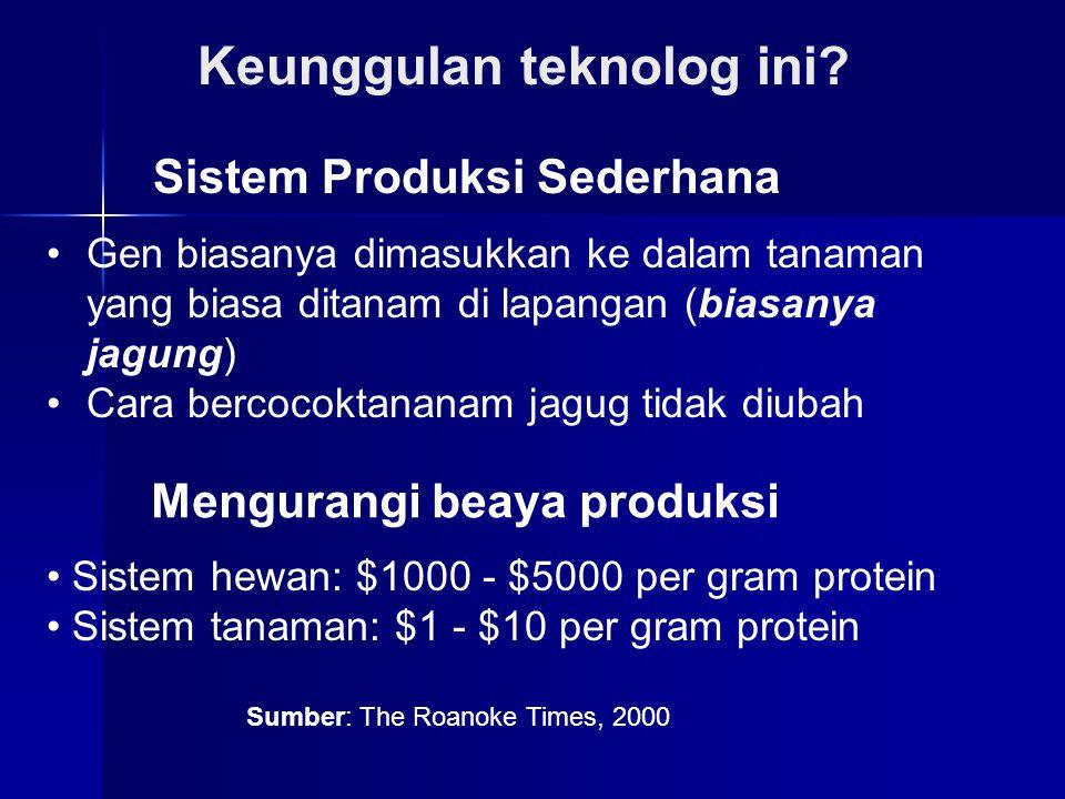 Sistem Produksi Sederhana Keunggulan teknolog ini? Gen biasanya dimasukkan ke dalam tanaman yang biasa ditanam di lapangan (biasanya jagung) Cara berc