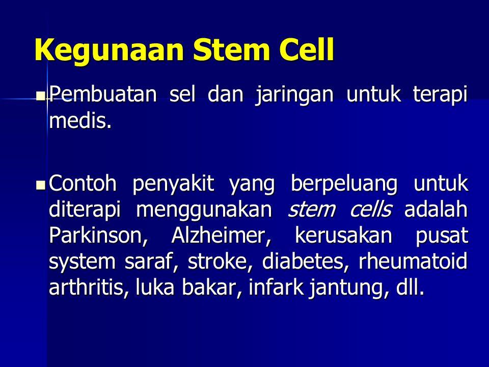 Pembuatan sel dan jaringan untuk terapi medis. Pembuatan sel dan jaringan untuk terapi medis. Contoh penyakit yang berpeluang untuk diterapi menggunak