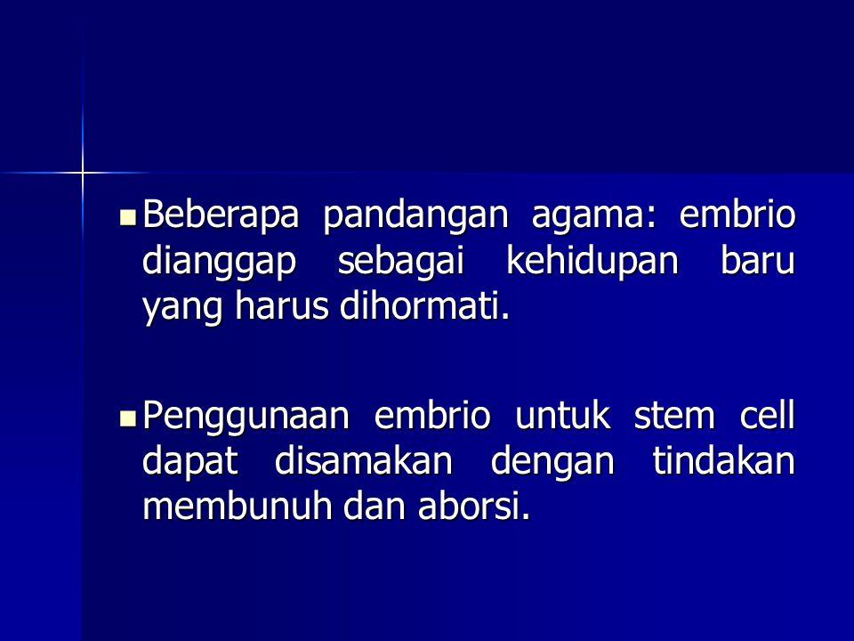 Beberapa pandangan agama: embrio dianggap sebagai kehidupan baru yang harus dihormati. Beberapa pandangan agama: embrio dianggap sebagai kehidupan bar