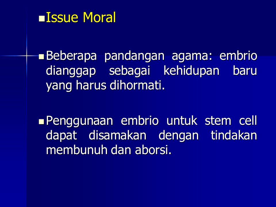 Issue Moral Issue Moral Beberapa pandangan agama: embrio dianggap sebagai kehidupan baru yang harus dihormati. Beberapa pandangan agama: embrio diangg