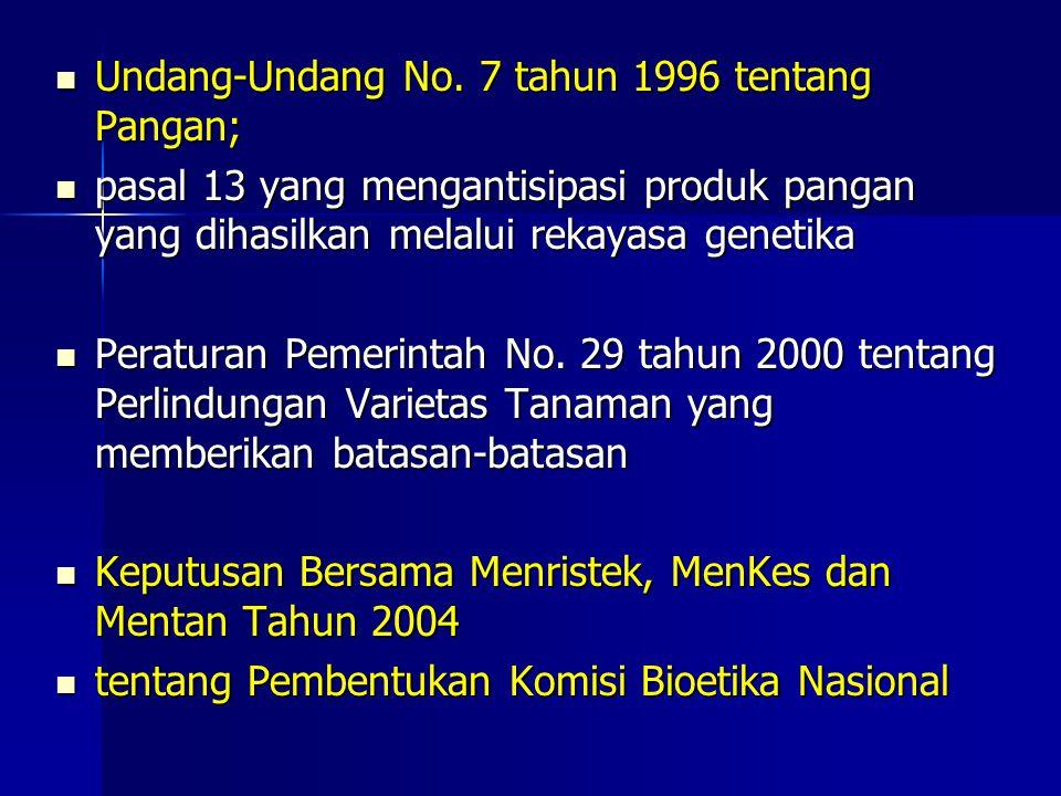 Undang-Undang No. 7 tahun 1996 tentang Pangan; Undang-Undang No. 7 tahun 1996 tentang Pangan; pasal 13 yang mengantisipasi produk pangan yang dihasilk