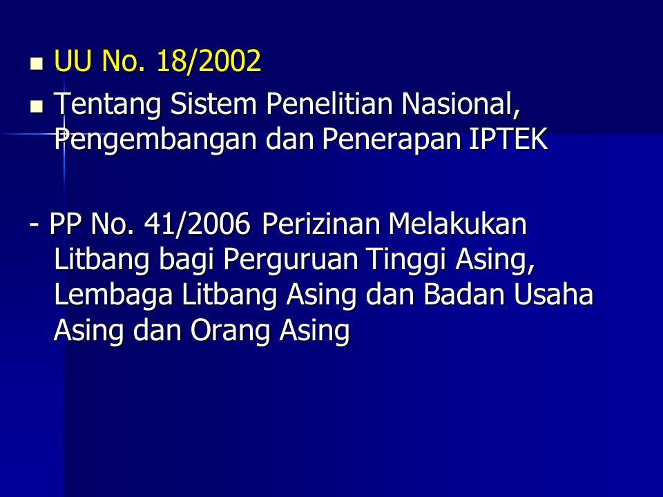 UU No. 18/2002 UU No. 18/2002 Tentang Sistem Penelitian Nasional, Pengembangan dan Penerapan IPTEK Tentang Sistem Penelitian Nasional, Pengembangan da