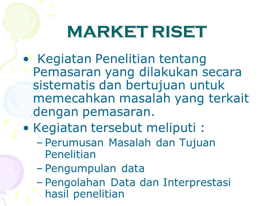 MARKET RISET Kegiatan Penelitian tentang Pemasaran yang dilakukan secara sistematis dan bertujuan untuk memecahkan masalah yang terkait dengan pemasar