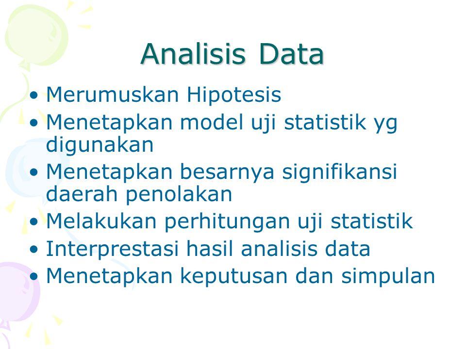 Analisis Data Merumuskan Hipotesis Menetapkan model uji statistik yg digunakan Menetapkan besarnya signifikansi daerah penolakan Melakukan perhitungan