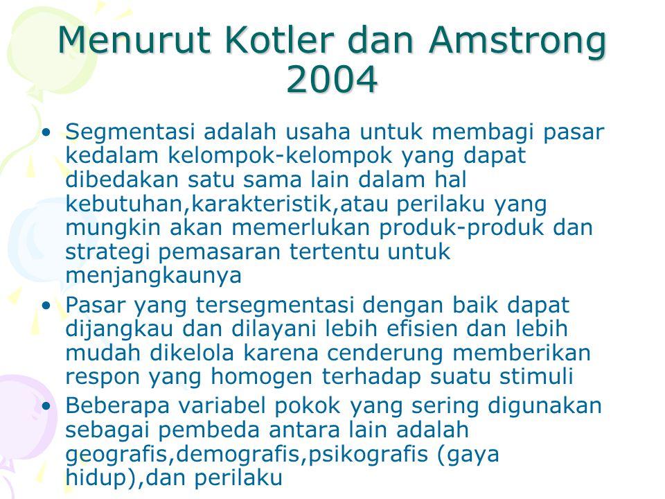 Menurut Kotler dan Amstrong 2004 Segmentasi adalah usaha untuk membagi pasar kedalam kelompok-kelompok yang dapat dibedakan satu sama lain dalam hal k
