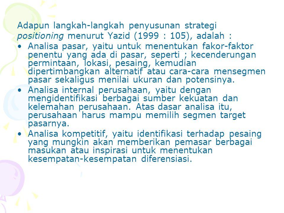 Adapun langkah-langkah penyusunan strategi positioning menurut Yazid (1999 : 105), adalah : Analisa pasar, yaitu untuk menentukan fakor-faktor penentu