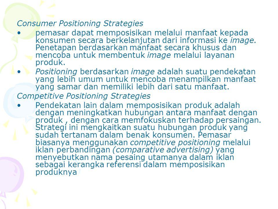 Consumer Positioning Strategies pemasar dapat memposisikan melalui manfaat kepada konsumen secara berkelanjutan dari informasi ke image. Penetapan ber