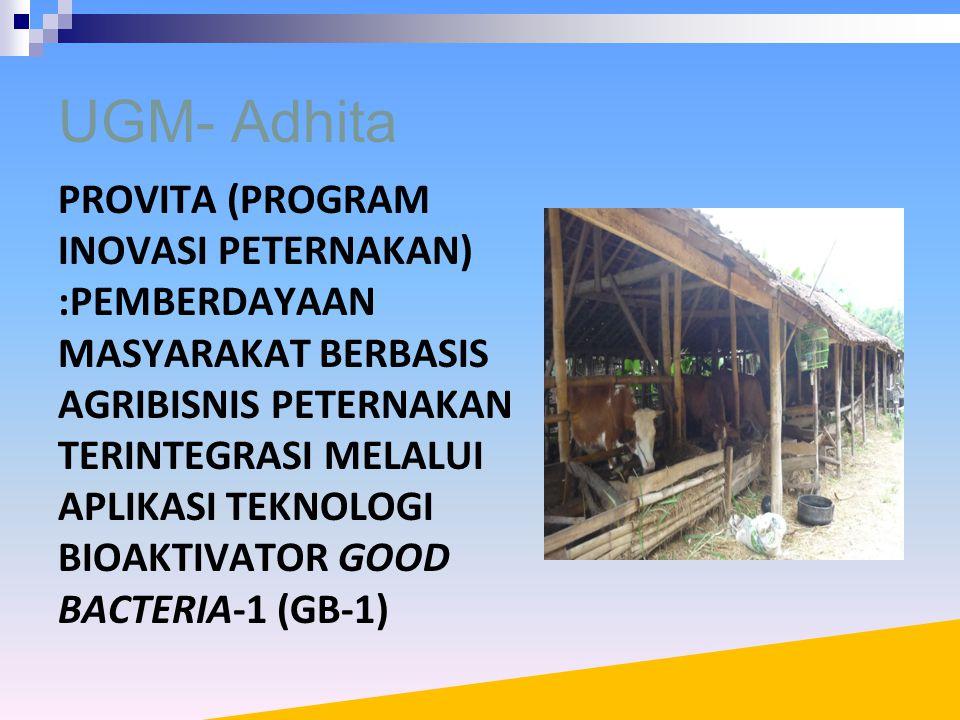 UGM- Adhita PROVITA (PROGRAM INOVASI PETERNAKAN) :PEMBERDAYAAN MASYARAKAT BERBASIS AGRIBISNIS PETERNAKAN TERINTEGRASI MELALUI APLIKASI TEKNOLOGI BIOAKTIVATOR GOOD BACTERIA-1 (GB-1)