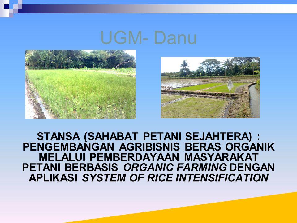 UGM- Danu STANSA (SAHABAT PETANI SEJAHTERA) : PENGEMBANGAN AGRIBISNIS BERAS ORGANIK MELALUI PEMBERDAYAAN MASYARAKAT PETANI BERBASIS ORGANIC FARMING DENGAN APLIKASI SYSTEM OF RICE INTENSIFICATION