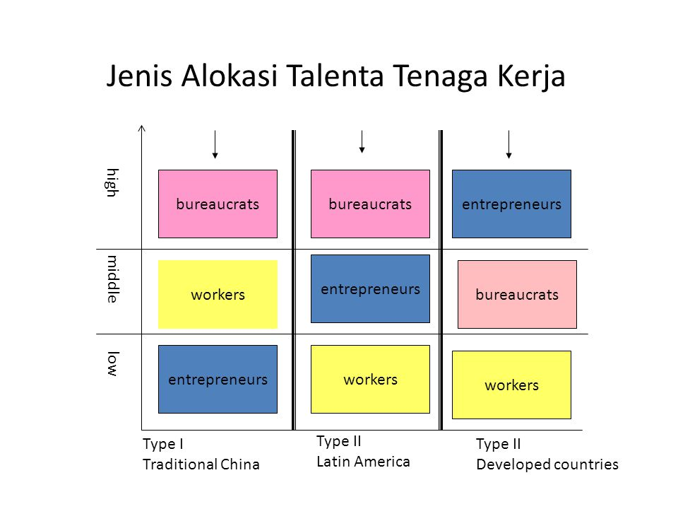 Jenis Alokasi Talenta Tenaga Kerja entrepreneurs bureaucrats workers high middle low bureaucrats entrepreneurs workers bureaucrats Type I Traditional China Type II Latin America Type II Developed countries