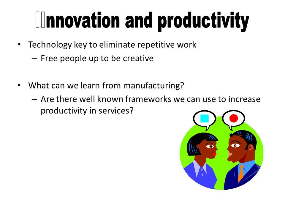 Ditemukan pula bahwa inovasi dalam bidang produk, teknologi produksi, teknik atau prosedur produksi, organisasi kerja, dan manajemen sumber daya manusia dalam organisasi-organisasi cenderung rendah karena hanya memperkenalkan inovasi-inovasi minor.