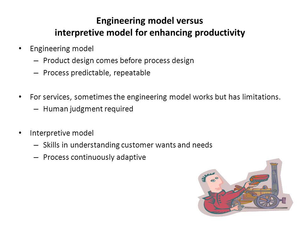 Engineering model versus interpretive model for enhancing productivity Engineering model – Product design comes before process design – Process predic