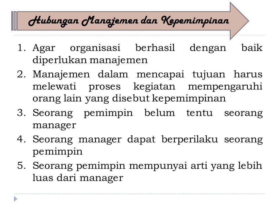 1.Agar organisasi berhasil dengan baik diperlukan manajemen 2.Manajemen dalam mencapai tujuan harus melewati proses kegiatan mempengaruhi orang lain yang disebut kepemimpinan 3.Seorang pemimpin belum tentu seorang manager 4.Seorang manager dapat berperilaku seorang pemimpin 5.Seorang pemimpin mempunyai arti yang lebih luas dari manager Hubungan Manajemen dan Kepemimpinan