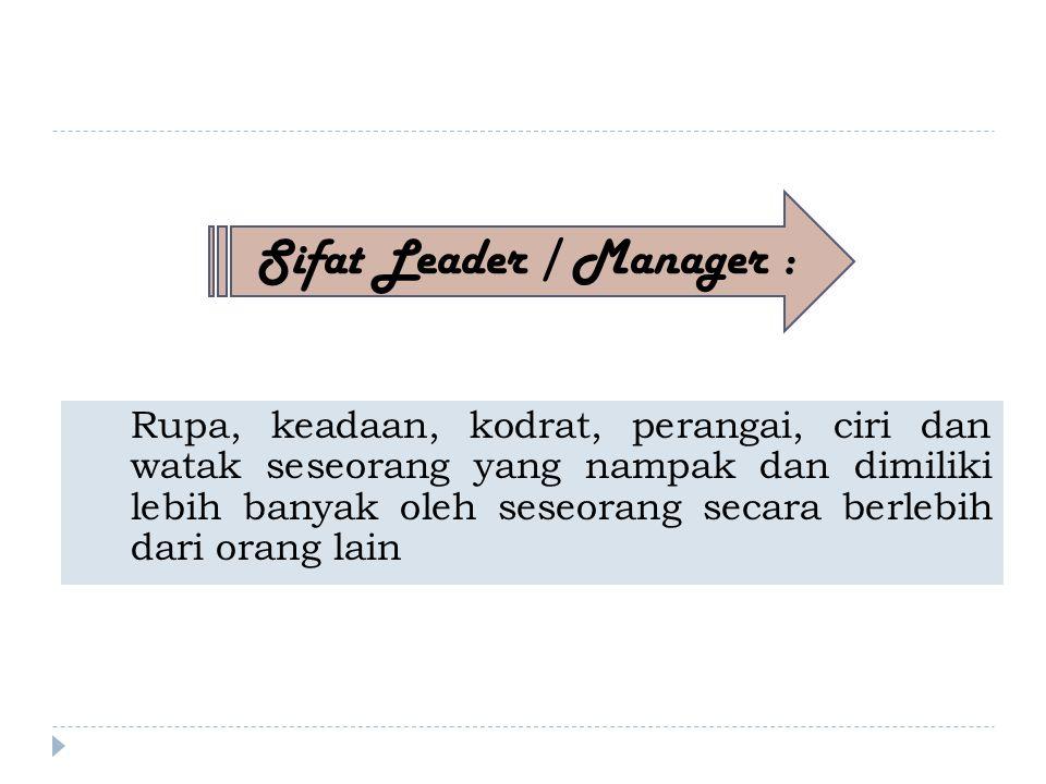 Rupa, keadaan, kodrat, perangai, ciri dan watak seseorang yang nampak dan dimiliki lebih banyak oleh seseorang secara berlebih dari orang lain Sifat Leader / Manager :
