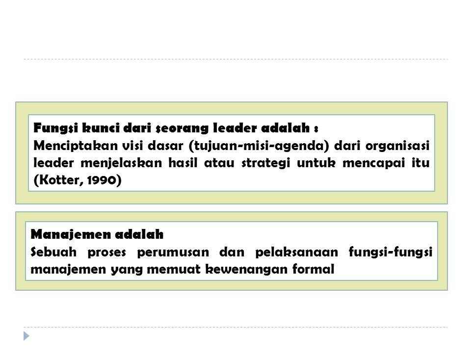 Fungsi kunci dari seorang leader adalah : Menciptakan visi dasar (tujuan-misi-agenda) dari organisasi leader menjelaskan hasil atau strategi untuk mencapai itu (Kotter, 1990) Manajemen adalah Sebuah proses perumusan dan pelaksanaan fungsi-fungsi manajemen yang memuat kewenangan formal