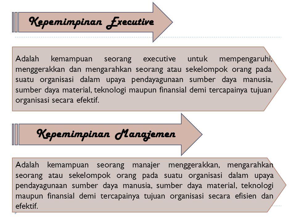 Kepemimpinan Executive Adalah kemampuan seorang executive untuk mempengaruhi, menggerakkan dan mengarahkan seorang atau sekelompok orang pada suatu organisasi dalam upaya pendayagunaan sumber daya manusia, sumber daya material, teknologi maupun finansial demi tercapainya tujuan organisasi secara efektif.