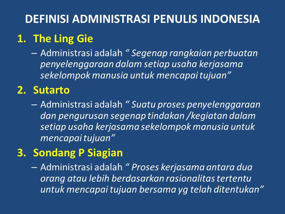 """DEFINISI ADMINISTRASI PENULIS INDONESIA 1.The Ling Gie – Administrasi adalah """" Segenap rangkaian perbuatan penyelenggaraan dalam setiap usaha kerjasam"""