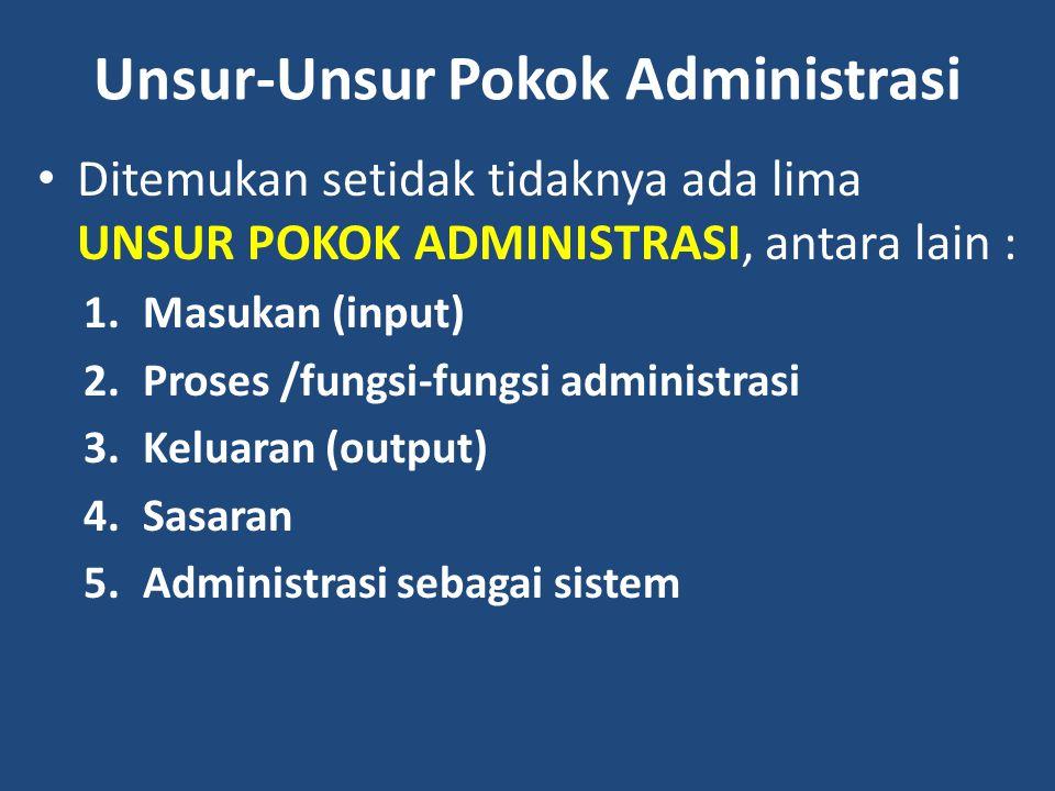 Unsur-Unsur Pokok Administrasi Ditemukan setidak tidaknya ada lima UNSUR POKOK ADMINISTRASI, antara lain : 1.Masukan (input) 2.Proses /fungsi-fungsi a
