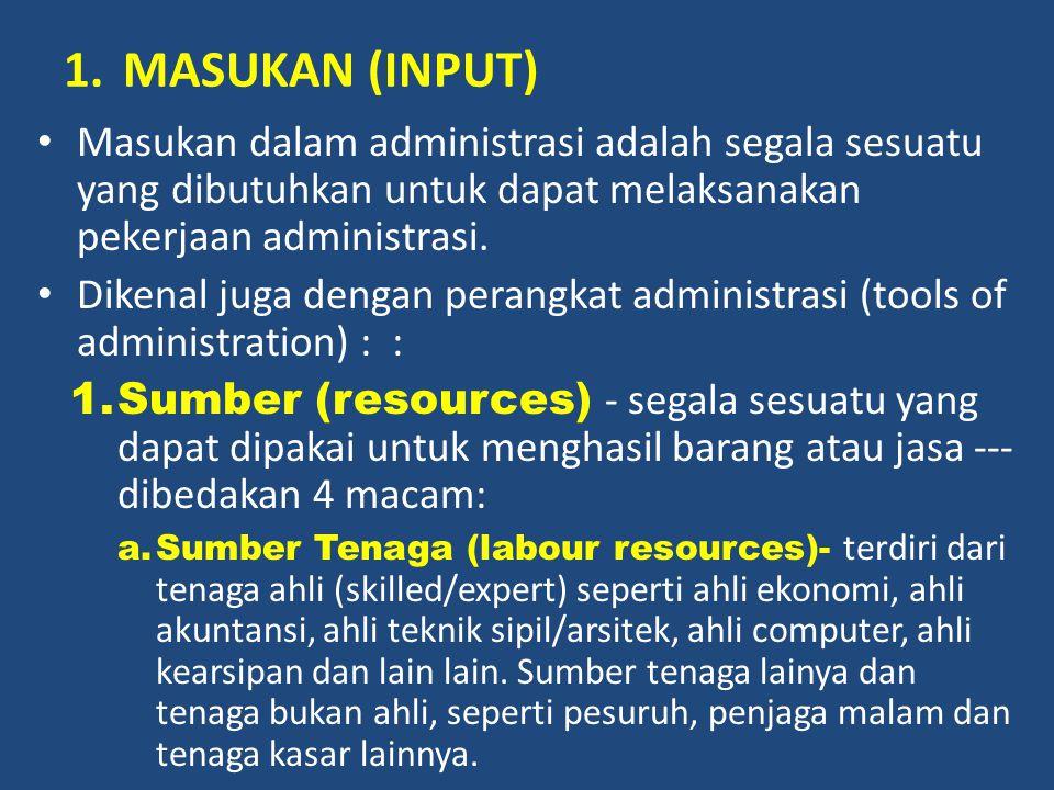 1.MASUKAN (INPUT) Masukan dalam administrasi adalah segala sesuatu yang dibutuhkan untuk dapat melaksanakan pekerjaan administrasi. Dikenal juga denga
