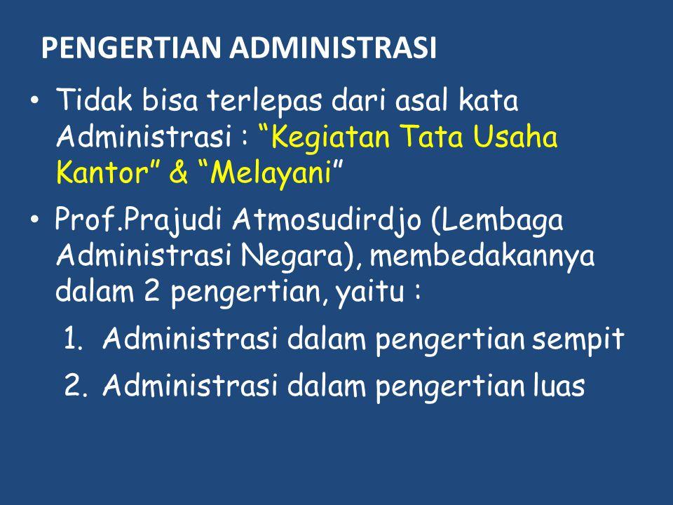 """PENGERTIAN ADMINISTRASI Tidak bisa terlepas dari asal kata Administrasi : """"Kegiatan Tata Usaha Kantor"""" & """"Melayani"""" Prof.Prajudi Atmosudirdjo (Lembaga"""