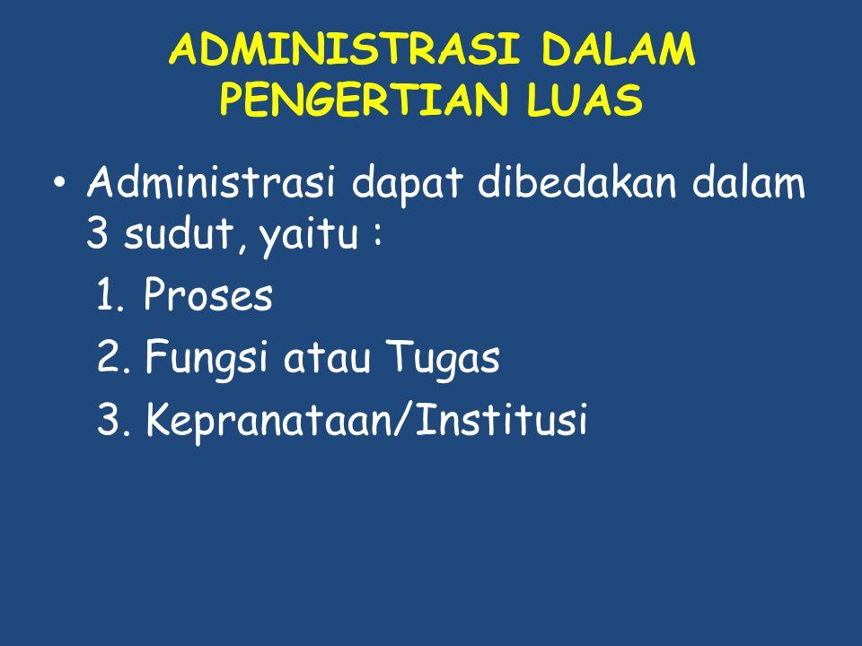 ADMINISTRASI DALAM PENGERTIAN LUAS Administrasi dapat dibedakan dalam 3 sudut, yaitu : 1.Proses 2.Fungsi atau Tugas 3.Kepranataan/Institusi
