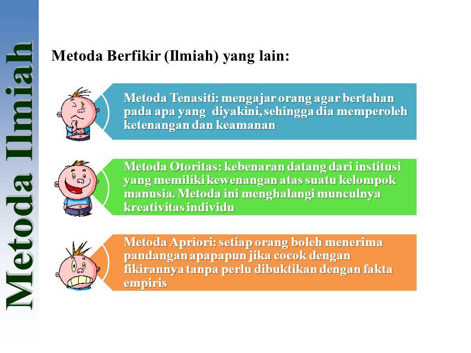 Metoda Berfikir (Ilmiah) yang lain: Metoda Tenasiti: mengajar orang agar bertahan pada apa yang diyakini, sehingga dia memperoleh ketenangan dan keama