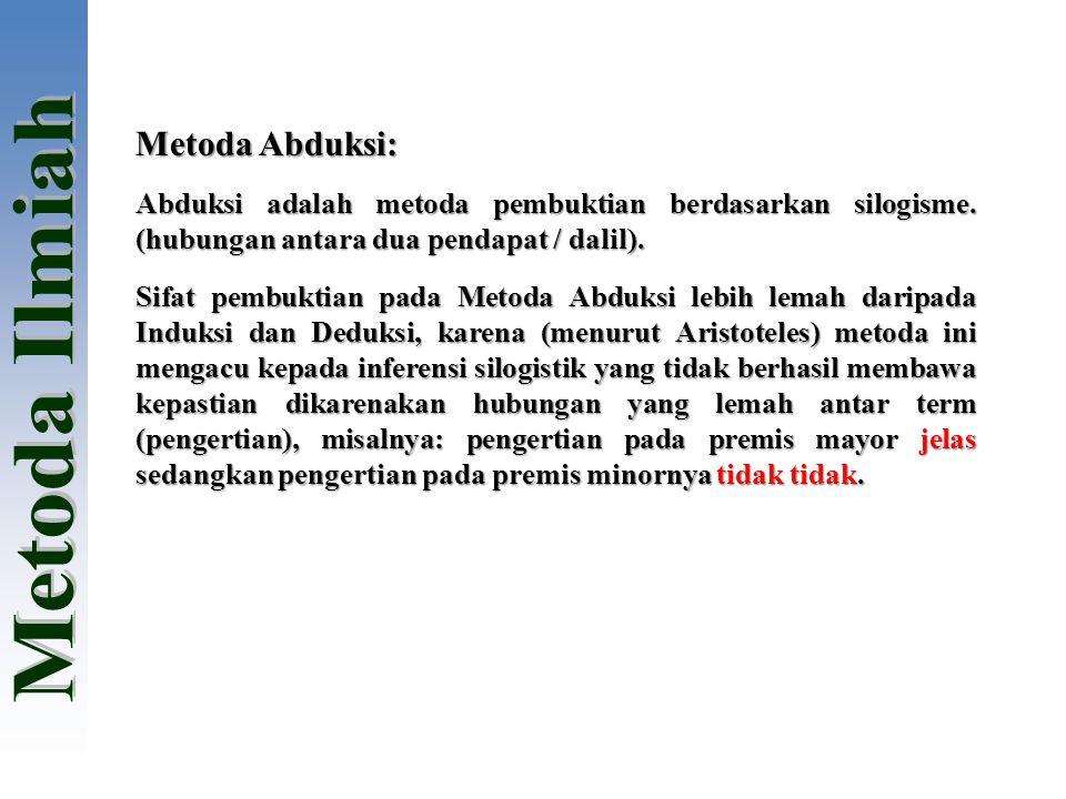 Metoda Abduksi: Abduksi adalah metoda pembuktian berdasarkan silogisme. (hubungan antara dua pendapat / dalil). Sifat pembuktian pada Metoda Abduksi l