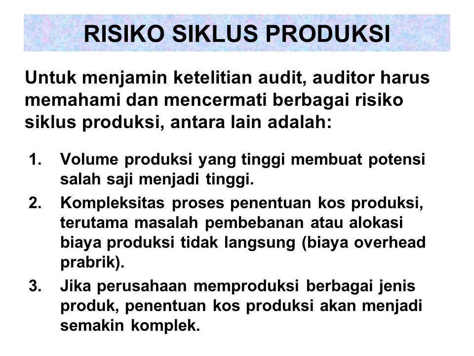 RISIKO SIKLUS PRODUKSI 1.Volume produksi yang tinggi membuat potensi salah saji menjadi tinggi. 2.Kompleksitas proses penentuan kos produksi, terutama