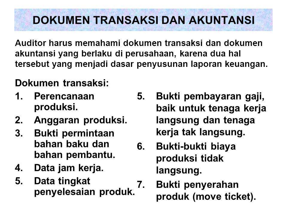 DOKUMEN TRANSAKSI DAN AKUNTANSI Dokumen transaksi: 1.Perencanaan produksi. 2.Anggaran produksi. 3.Bukti permintaan bahan baku dan bahan pembantu. 4.Da