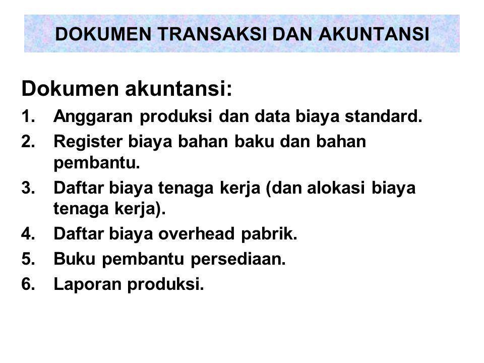 DOKUMEN TRANSAKSI DAN AKUNTANSI Dokumen akuntansi: 1.Anggaran produksi dan data biaya standard. 2.Register biaya bahan baku dan bahan pembantu. 3.Daft