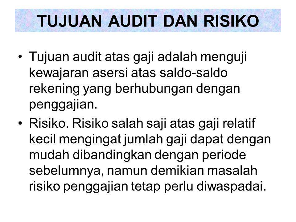Tujuan audit atas gaji adalah menguji kewajaran asersi atas saldo-saldo rekening yang berhubungan dengan penggajian. Risiko. Risiko salah saji atas ga