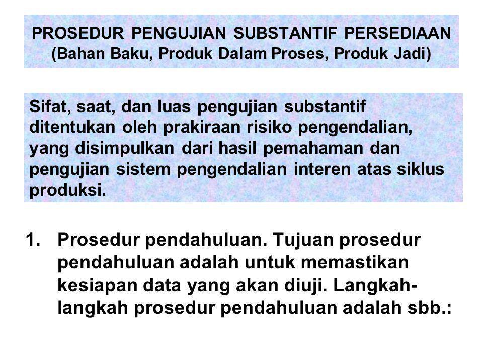 PROSEDUR PENGUJIAN SUBSTANTIF PERSEDIAAN (Bahan Baku, Produk Dalam Proses, Produk Jadi) 1.Prosedur pendahuluan. Tujuan prosedur pendahuluan adalah unt