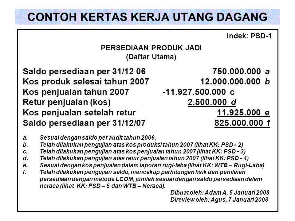 CONTOH KERTAS KERJA UTANG DAGANG Saldo persediaan per 31/12 06750.000.000 a Kos produk selesai tahun 200712.000.000.000 b Kos penjualan tahun 2007 -11