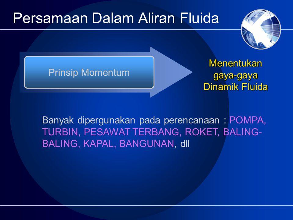 Persamaan Dalam Aliran Fluida Prinsip Momentum Menentukan gaya-gaya Dinamik Fluida Banyak dipergunakan pada perencanaan : POMPA, TURBIN, PESAWAT TERBANG, ROKET, BALING- BALING, KAPAL, BANGUNAN, dll