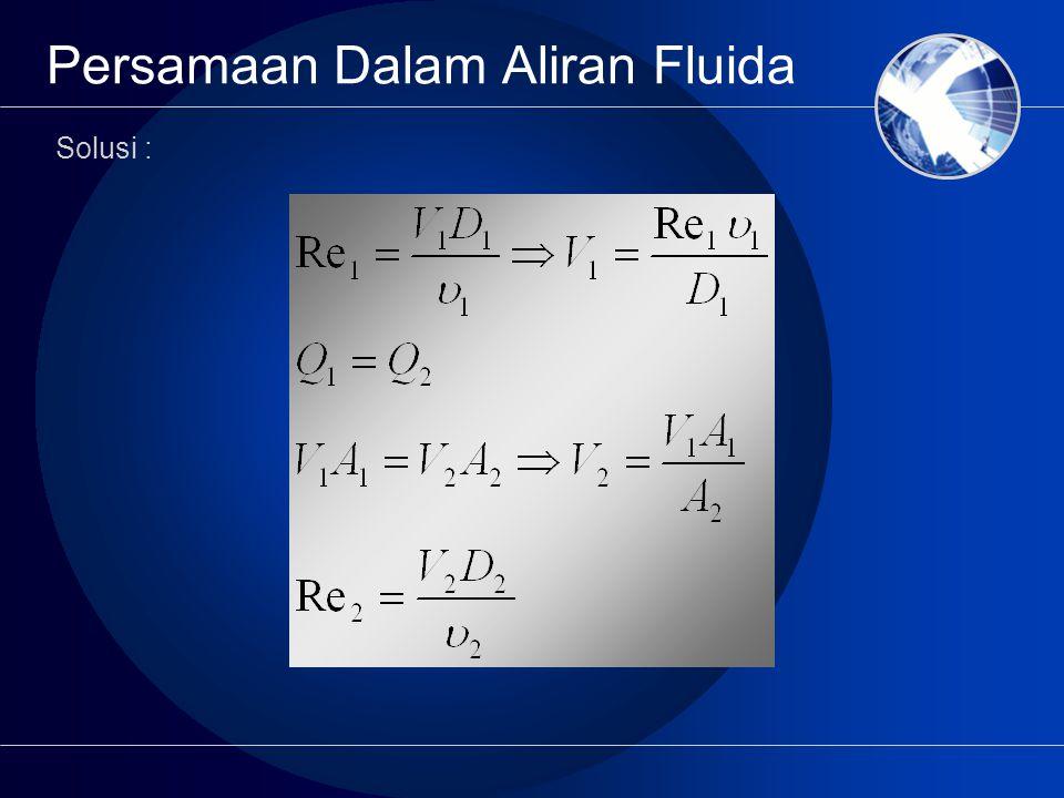 Persamaan Dalam Aliran Fluida Solusi :