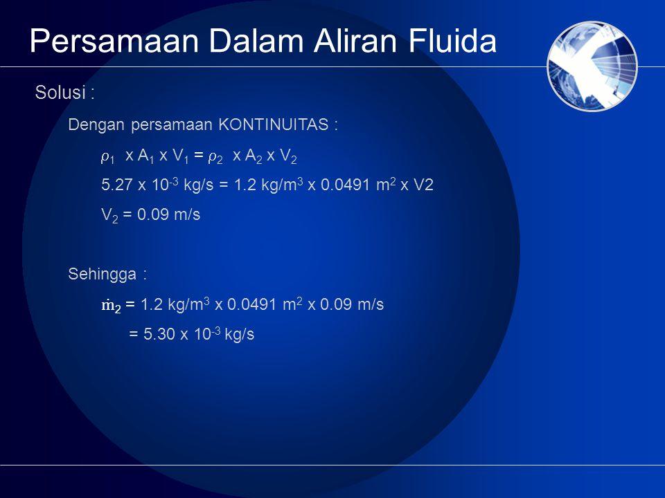 Persamaan Dalam Aliran Fluida Solusi : Dengan persamaan KONTINUITAS :  1 x A 1 x V 1 =  2 x A 2 x V 2 5.27 x 10 -3 kg/s = 1.2 kg/m 3 x 0.0491 m 2 x V2 V 2 = 0.09 m/s Sehingga : ṁ 2 = 1.2 kg/m 3 x 0.0491 m 2 x 0.09 m/s = 5.30 x 10 -3 kg/s