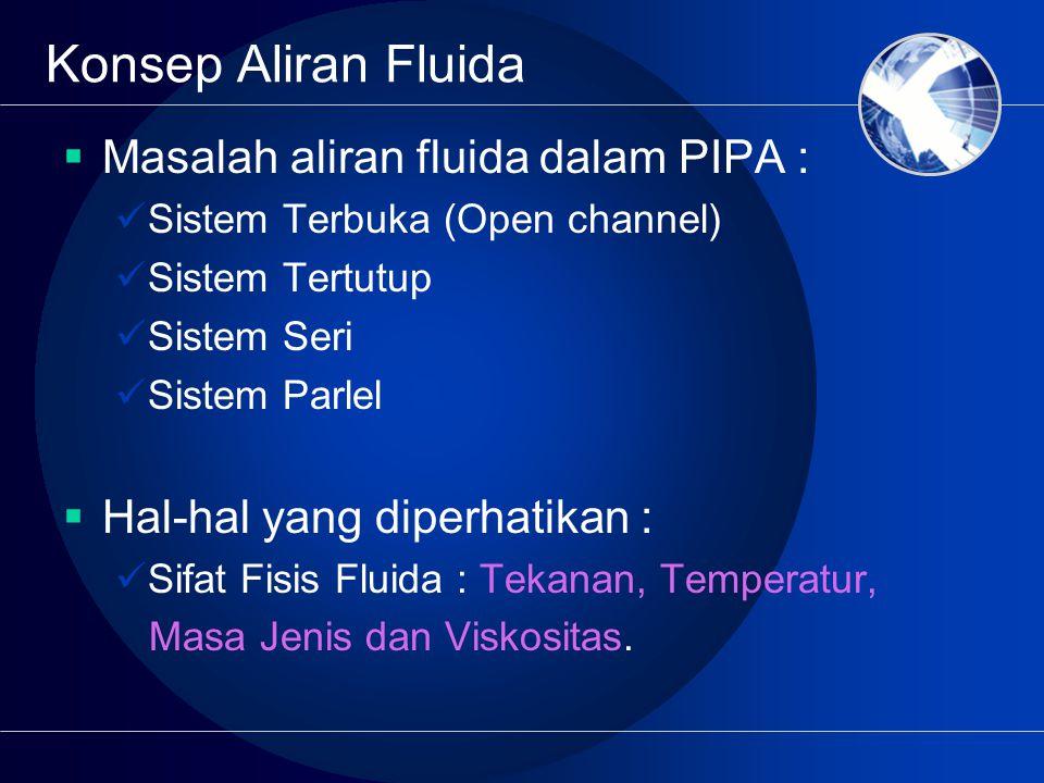 Konsep Aliran Fluida  Masalah aliran fluida dalam PIPA : Sistem Terbuka (Open channel) Sistem Tertutup Sistem Seri Sistem Parlel  Hal-hal yang diperhatikan : Sifat Fisis Fluida : Tekanan, Temperatur, Masa Jenis dan Viskositas.