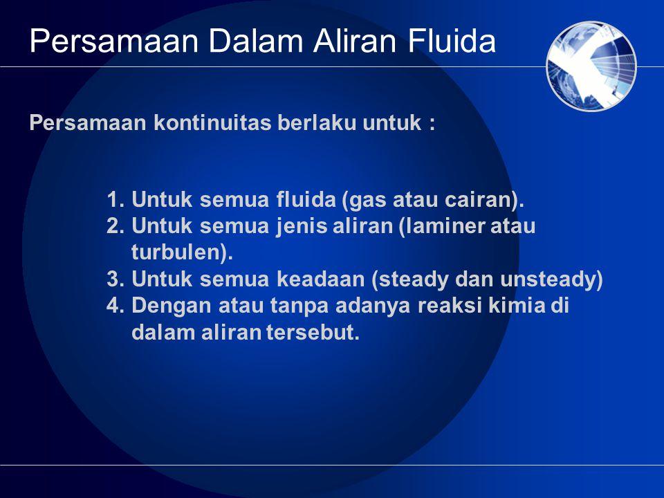 Persamaan Dalam Aliran Fluida 1.Untuk semua fluida (gas atau cairan).