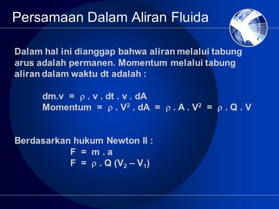 Persamaan Dalam Aliran Fluida Dalam hal ini dianggap bahwa aliran melalui tabung arus adalah permanen.