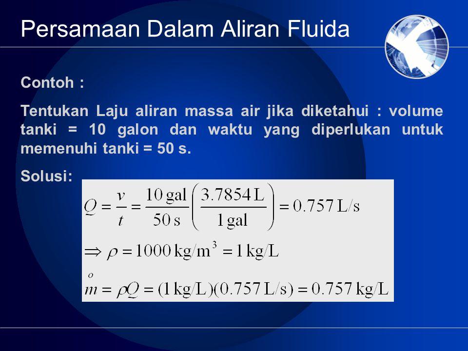 Contoh : Tentukan Laju aliran massa air jika diketahui : volume tanki = 10 galon dan waktu yang diperlukan untuk memenuhi tanki = 50 s.